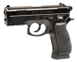 Pistol is the copy of Czech CZ-75 Compact, has plastic handle and steel slide bolt. Ergonomically designed and relatively light-weight for air guns (only 600 g) the gun lays well in arm. After a short-term adaptation period the pistol demonstrates very high precision.  The pistol has 16 balls magazine, does not have Blow Back system.