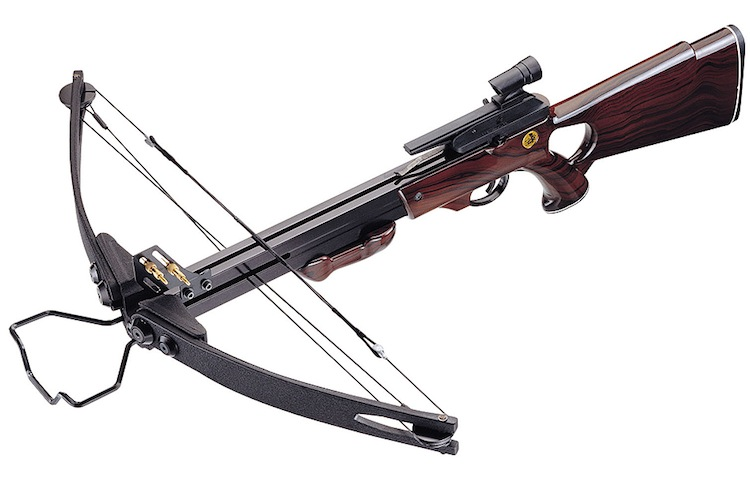 "A high tension and easy to load crossbow model with an average weight (3.2 kg) that allows easy firing by both men and women. The range of this weapon is enough to hit a 50 cm diameter target from 45 meters in a heartbeat. ""Cayman"" is equipped with an optical sight for firing at a long distance with pinpoint precision. The high density plastic barrel and stock with wood-grain finish that combines comfort with style."